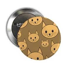 "Ginger Cats on Brown. 2.25"" Button"
