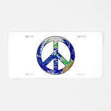 Earth Peace Sign Aluminum License Plate