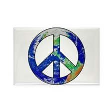 Earth Peace Sign Rectangle Magnet