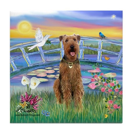 Lilies (JF) & Airedale Tile Coaster