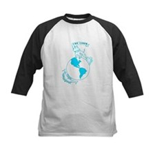 Pit Bull, Globe, and Anchor (Teal) Baseball Jersey
