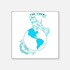 Pit Bull, Globe, and Anchor (Teal) Sticker