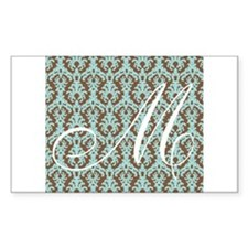 M Initial Damask Turquoise and Chocolate Decal