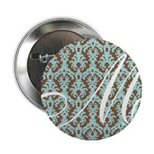 "M Initial Damask Turquoise and Chocolate 2.25"" But"