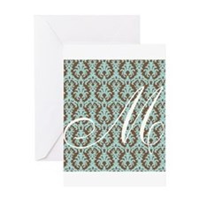 M Initial Damask Turquoise and Chocolate Greeting