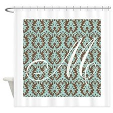 M Initial Damask Turquoise and Chocolate Shower Cu