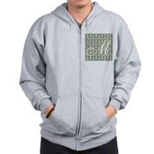 M Initial Damask Turquoise and Chocolate Zip Hoodie