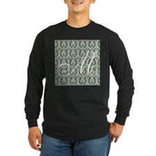 M Initial Damask Turquoise and Chocolate T