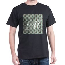 M Initial Damask Turquoise and Chocolate T-Shirt