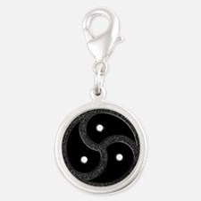BDSM Emblem - Chrome Look Silver Round Charm