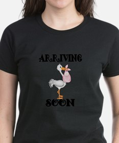 Arriving Soon-Stork with Girl Baby T-Shirt