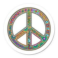 Peace Zentangle Round Car Magnet
