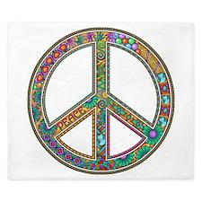Peace Zentangle King Duvet