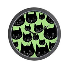 Black Cats on Green. Wall Clock