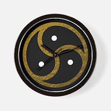 Gold Metal Look BDSM Emblem Wall Clock