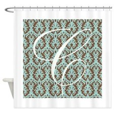 C Initial Damask Turquoise and Chocolate Shower Cu