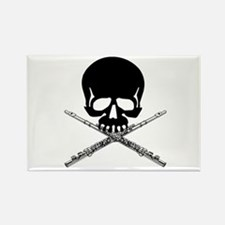 Skull with Flutes Rectangle Magnet