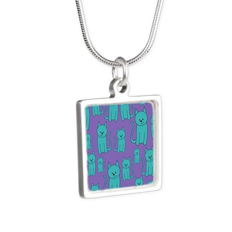 Teal Cats on Purple. Silver Square Necklace