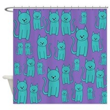Teal Cats on Purple. Shower Curtain