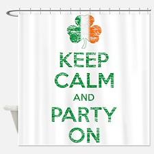 Keep Calm And Party On Irish Flag Shamrock Shower