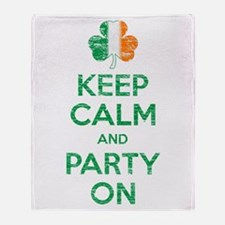 Keep Calm And Party On Irish Flag Shamrock Throw
