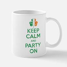 Keep Calm And Party On Irish Flag Shamrock Mug