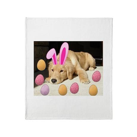 Happy Easter Golden Retriever Puppy Throw Blanket