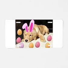 Happy Easter Golden Retriever Puppy Aluminum Licen
