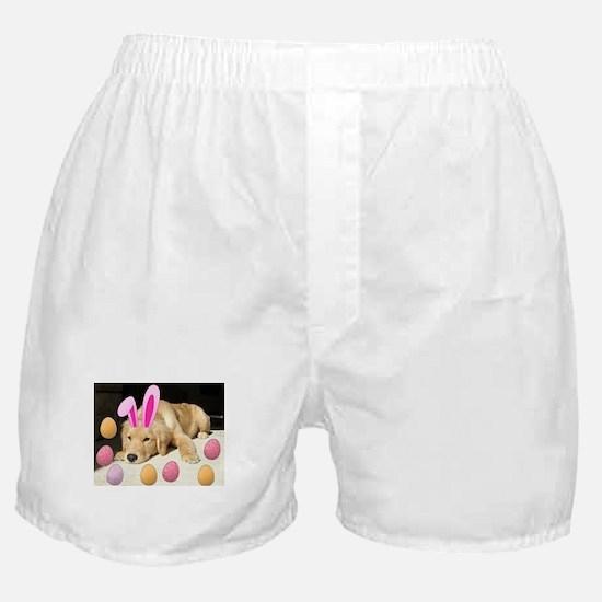 Happy Easter Golden Retriever Puppy Boxer Shorts