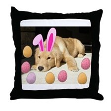 Happy Easter Golden Retriever Puppy Throw Pillow