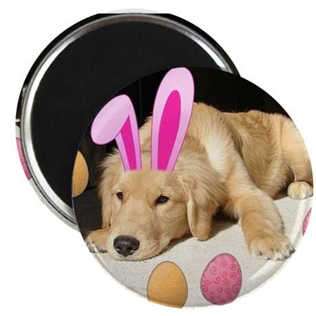 "Happy Easter Golden Retriever Puppy 2.25"" Magnet ("