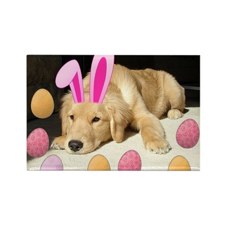 Happy Easter Golden Retriever Puppy Rectangle Magn