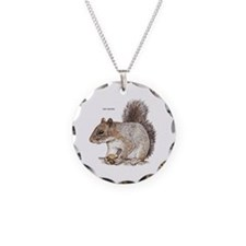 Gray Squirrel Animal Necklace Circle Charm