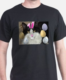 Easter Longhaired Black and White Kitty Cat T-Shirt