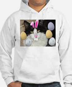 Easter Longhaired Black and White Kitty Cat Hoodie