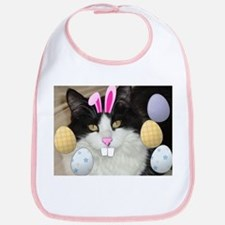 Easter Longhaired Black and White Kitty Cat Bib