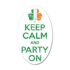 Keep Calm And Party On Irish Flag Shamrock Wall De
