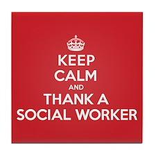 Cute Social worker keep calm Tile Coaster