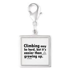 'Climbing Quote' Silver Square Charm