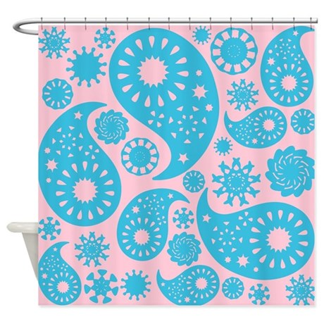 Cyan And Pink Paisley. Shower Curtain