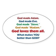 God Loves All Oval Decal