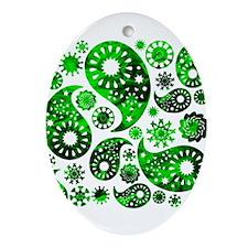 Green Swirl Paisley. Ornament (Oval)