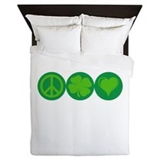 Peace, Clover, and Love Queen Duvet