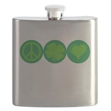 Peace, Clover, and Love Flask