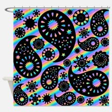 Black Paisley on Stripes. Shower Curtain