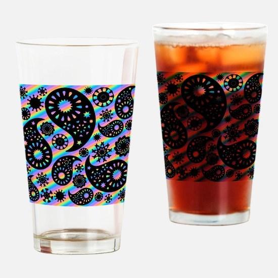 Black Paisley on Stripes. Drinking Glass