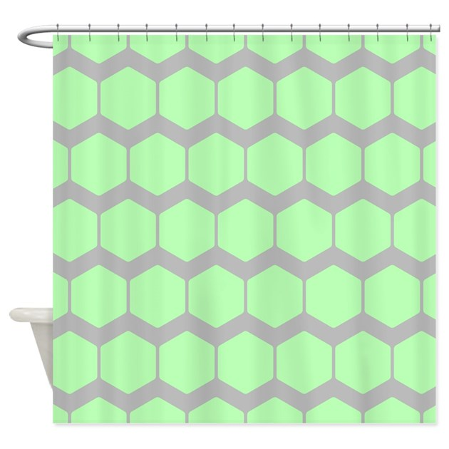 Green And Gray Pattern Shower Curtain By Metarla3