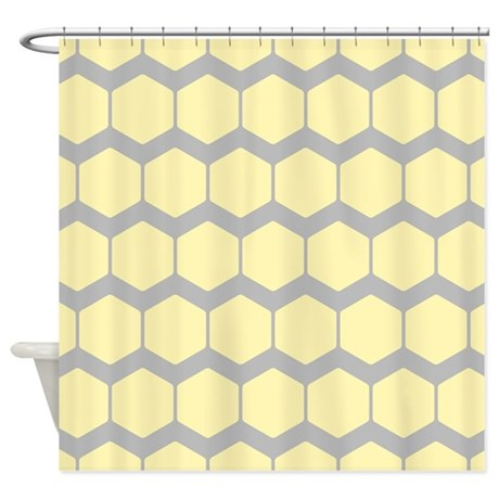 Yellow And Gray Pattern Shower Curtain By Metarla3