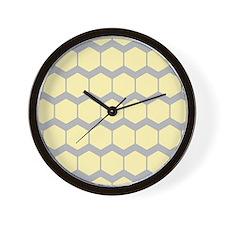 Yellow and Gray Pattern. Wall Clock