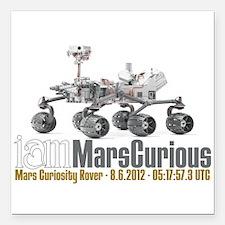 """I AM Mars Curious Square Car Magnet 3"""" x 3"""""""